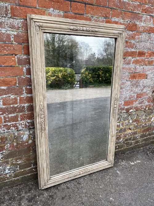 a stunning large antique french 19th century carved wood gesso painted mirror