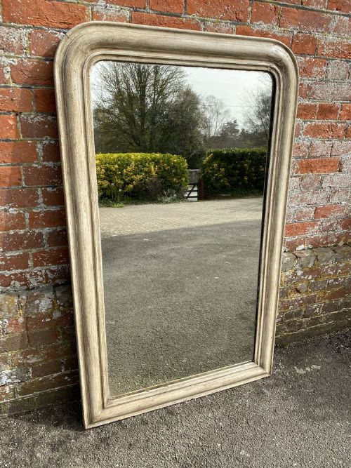 a delightful antique french 19th carved wood gesso arched top painted louis philippe mirror