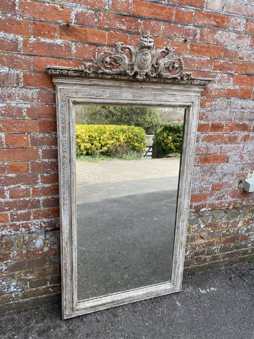 a fabulous large antique french 19th century carved wood gesso painted mirror