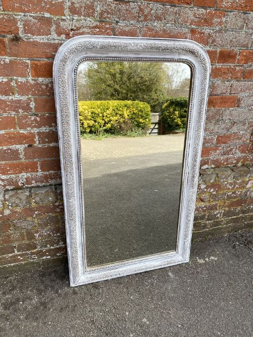 a highly useful size antique french 19th century carved wood gesso arched top painted mirror
