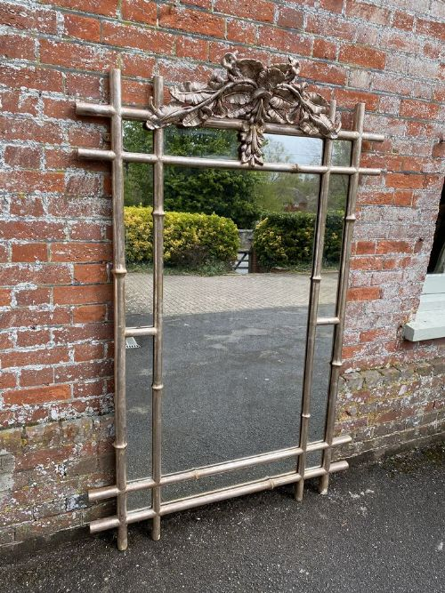 a stunning large antique french 19th century carved wood gesso original silvered faux bamboo framed mirror