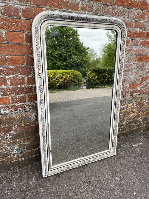 a wonderful good size antique french 19th century carved wood gesso arched top original silvered painted mirror