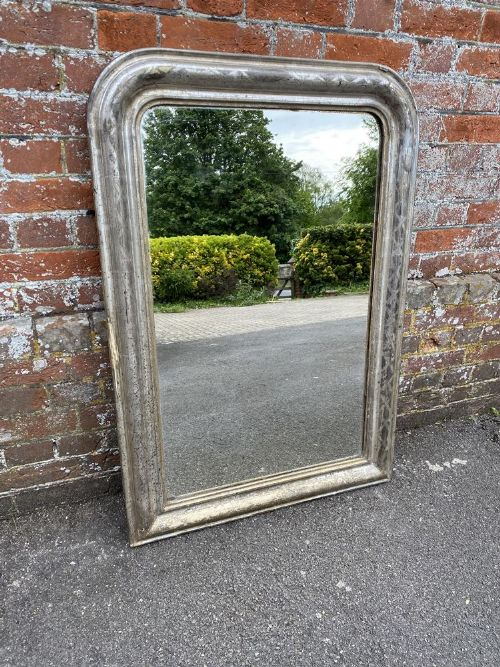 a stunning highly useful size early antique french 19th century carved wood gesso arched top original silvered etched framed louis philippe mirror