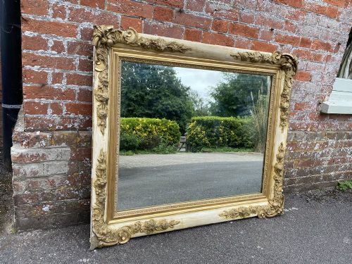 a fabulous large early antique french 19th century carved wood gesso original whitecreamy gilt slightly distressed mirror