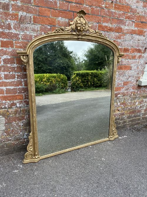 a superb large antique english 19th century carved wood gesso original gilt overmantle mirror