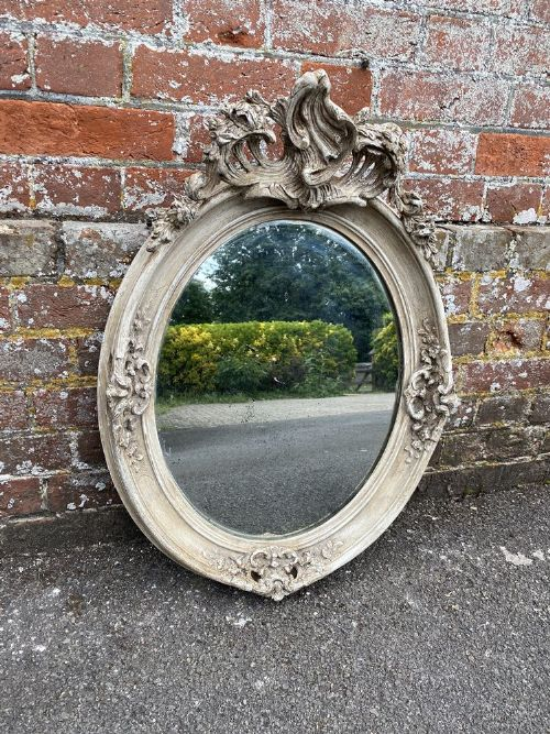 a stunning highly useful size antique french 19th century carved wood gesso oval framed mirror