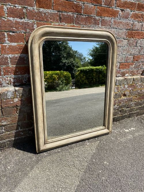 a fabulous highly useful size antique french 19th century carved wood gesso arched top painted mirror