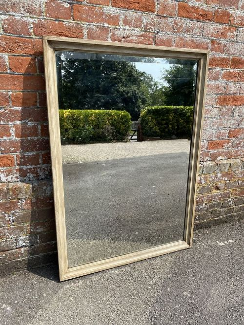 a fabulous useful size antique french 19th century carved wood painted plain mirror