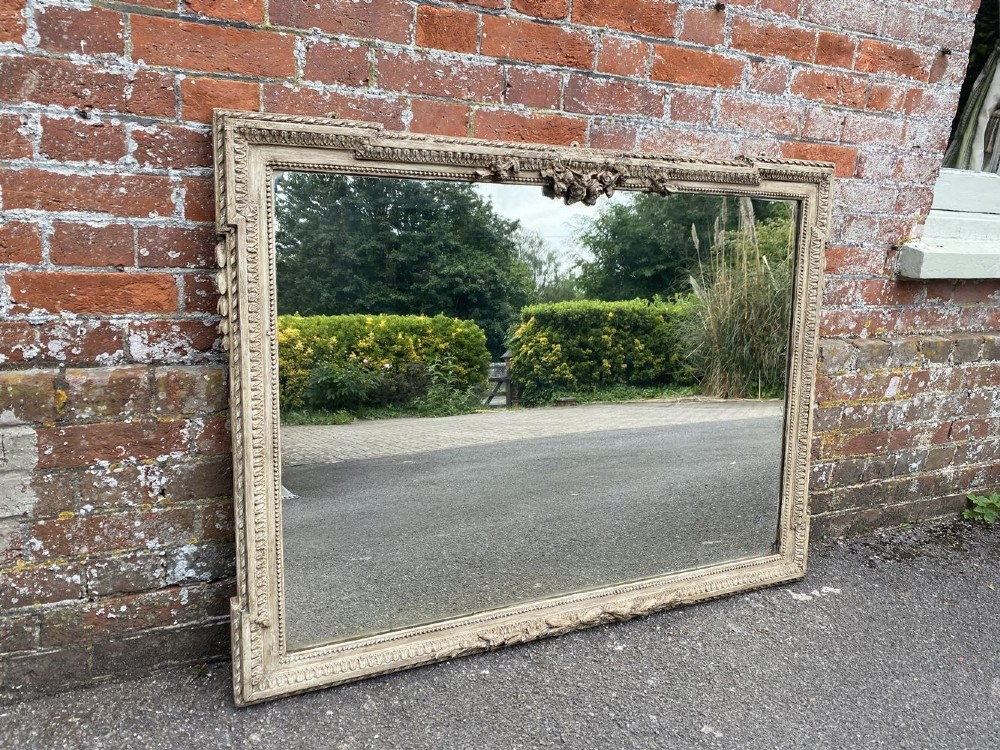 a delightful good size antique french 19th century carved wood gesso painted mirror