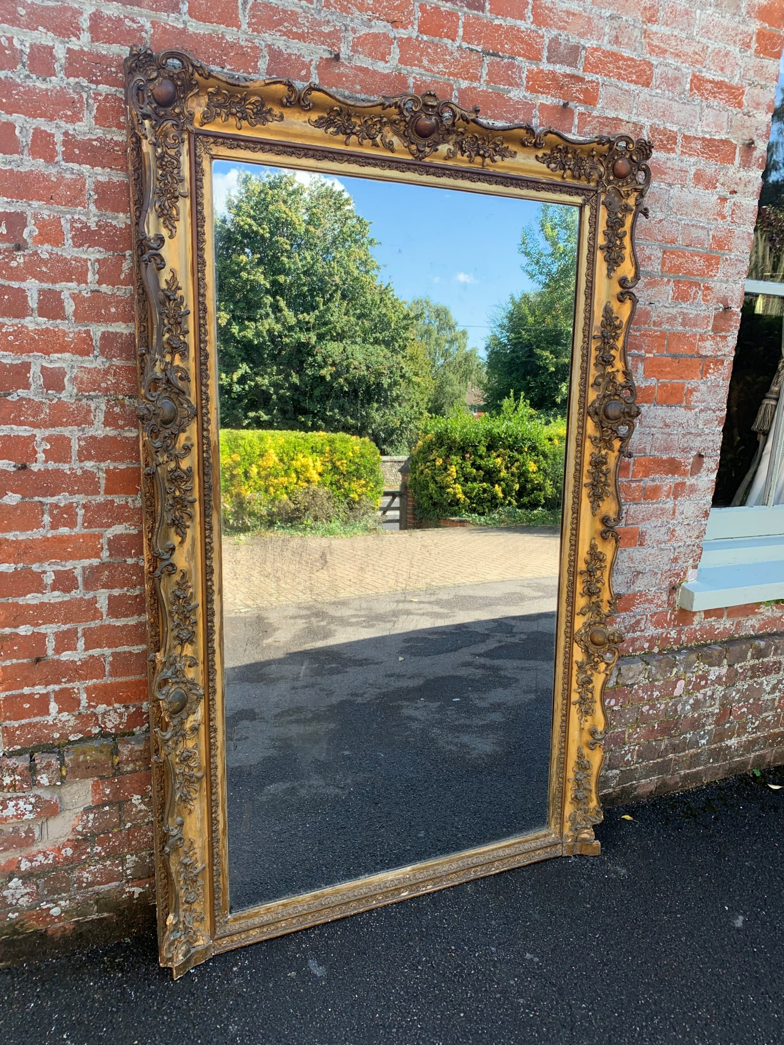 a spectacular large antique 19th century french carved wood gesso original gilt mirror