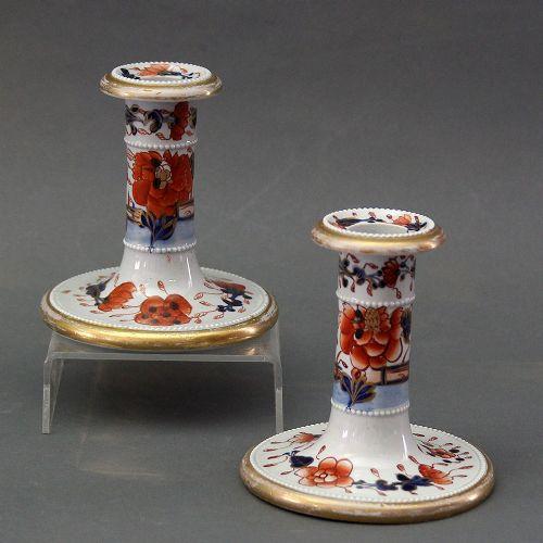 a pair of mason's ironstone china candle sticks japan fence pattern