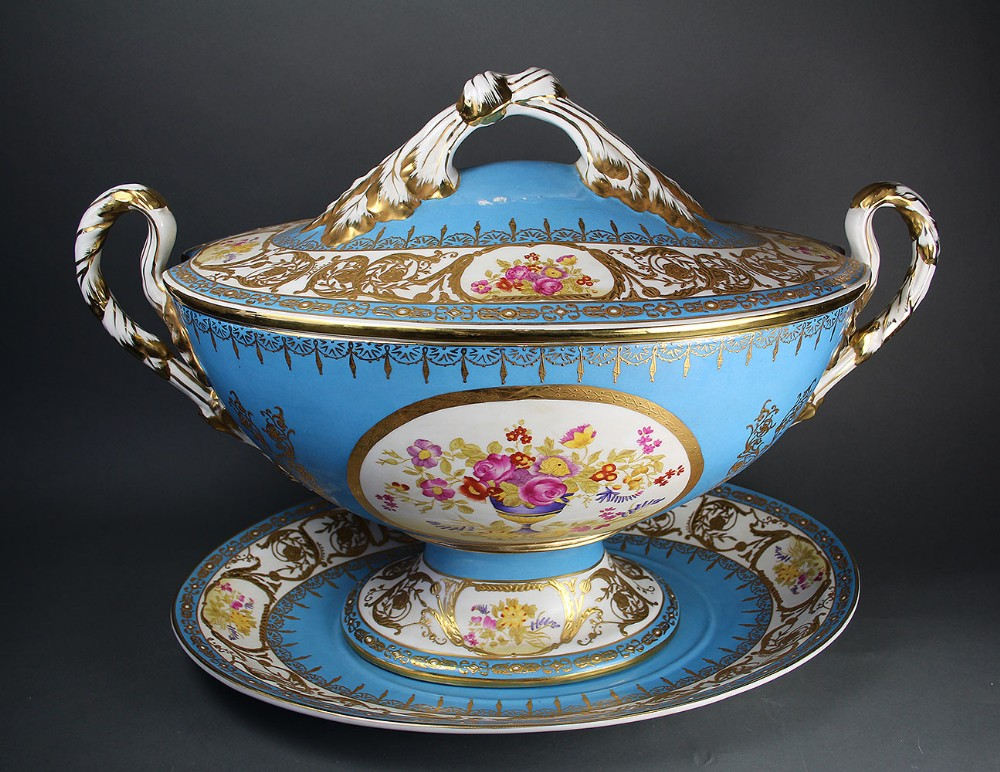 a large french porcelain soup tureen by edm'e samson