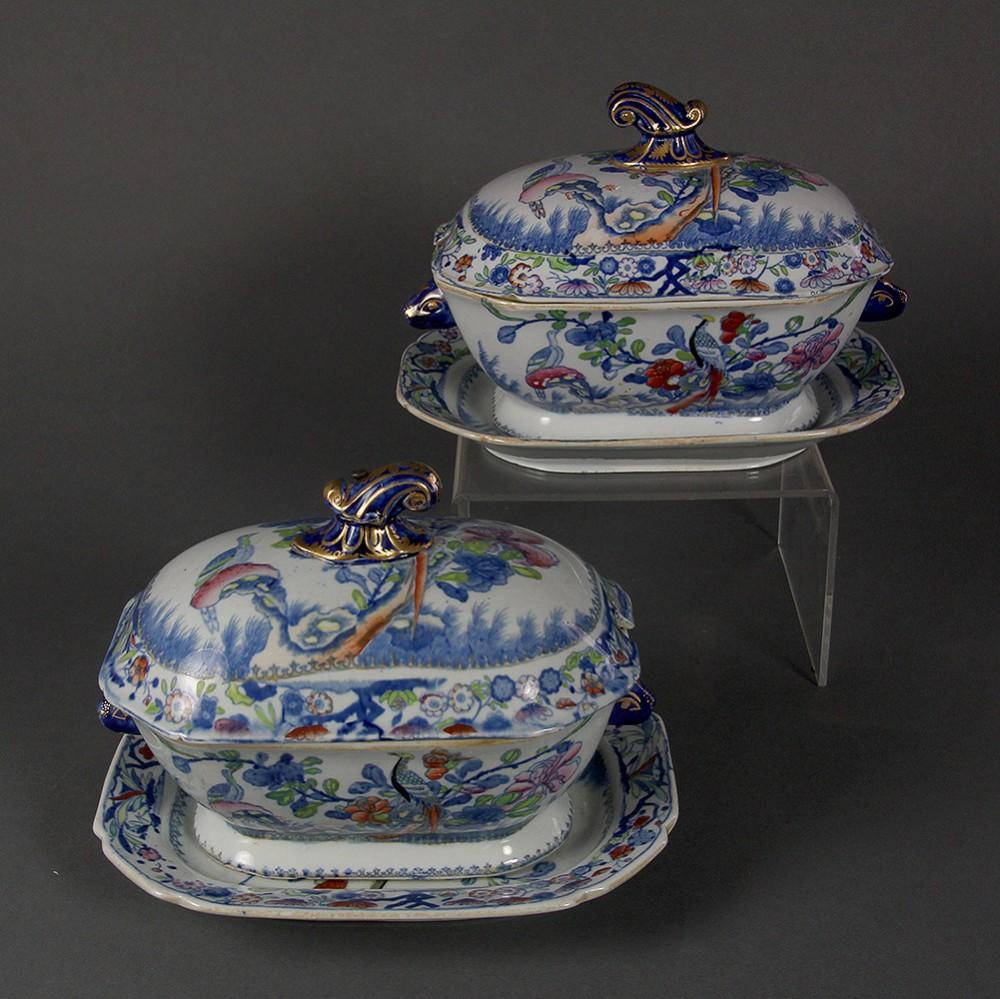 a pair of mason's ironstone china sauce tureens