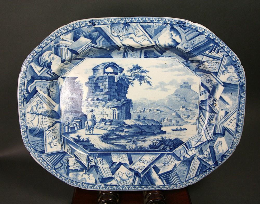 mason's ironstone china meat platter italianate landscape