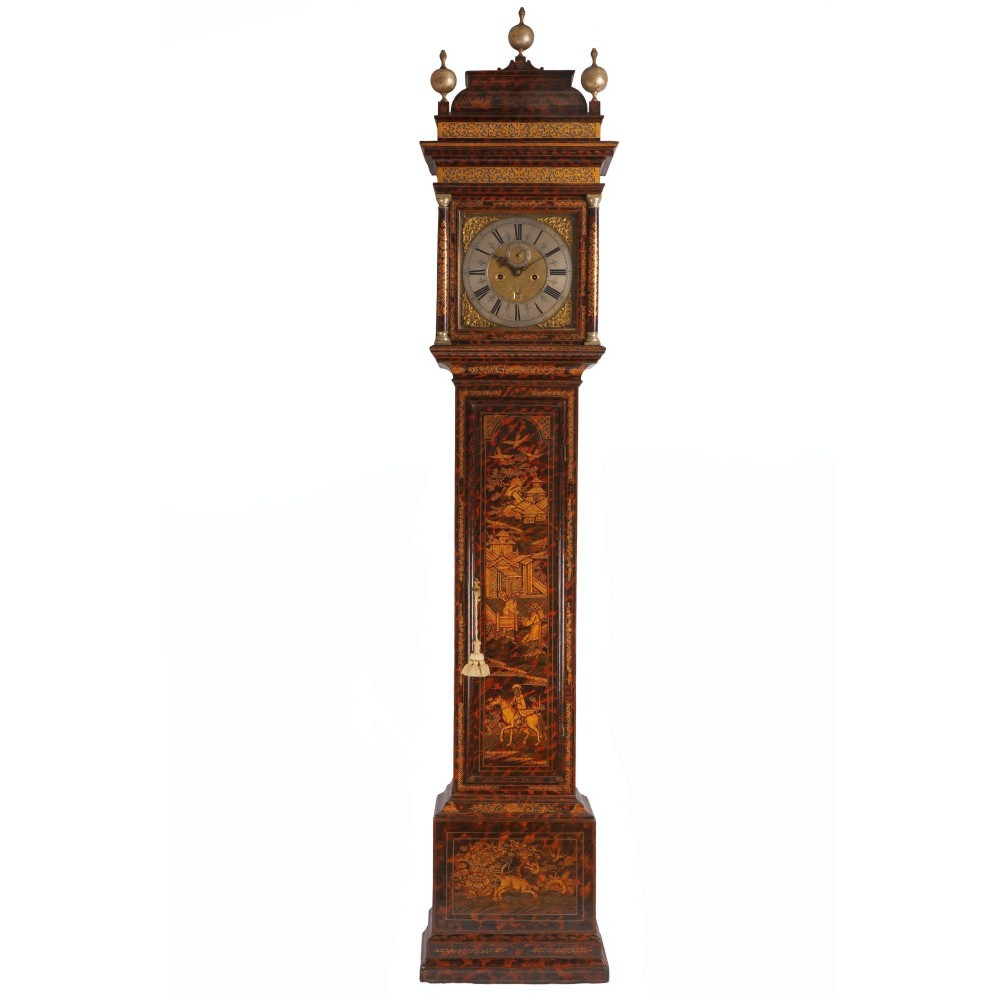 early 18th century chinoiserie lacquered longcase clock
