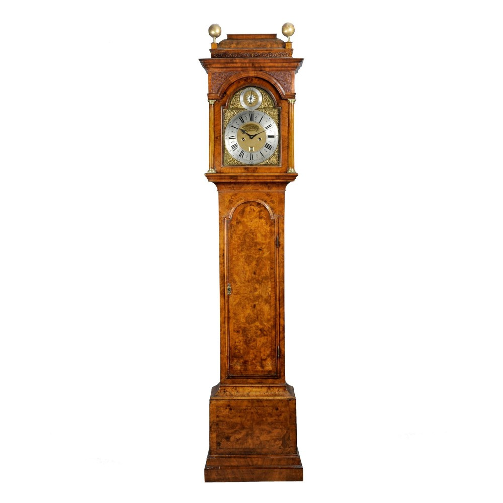 antique walnut longcase clock by james drury of london