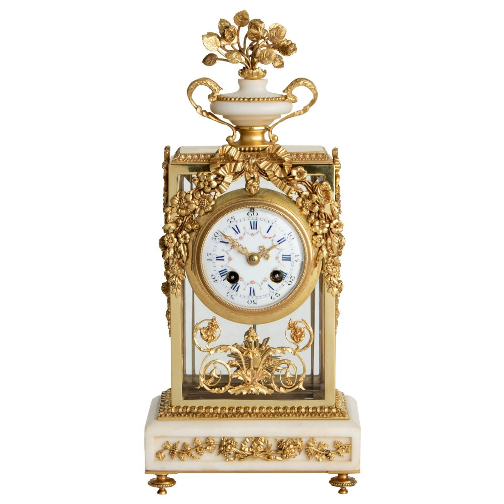 white marble gilt french antique mantel clock