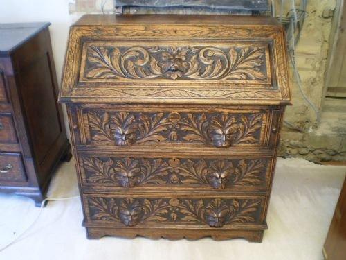 bureau victorian desk carved oak green man c1890 170523. Black Bedroom Furniture Sets. Home Design Ideas