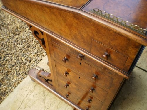 desk davenport victorian burr walnut fine quality c1850 - photo angle #2
