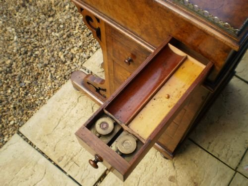 desk davenport victorian burr walnut fine quality c1850 - photo angle #4