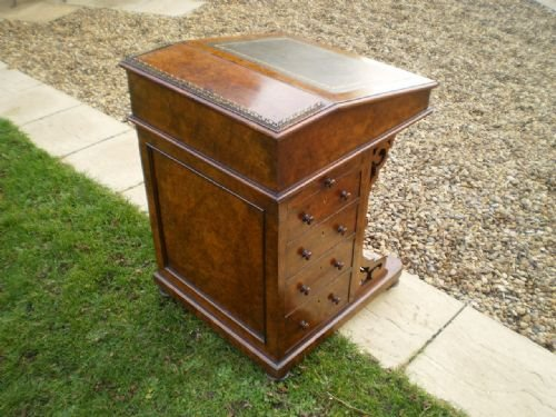 desk davenport victorian burr walnut fine quality c1850 - photo angle #5