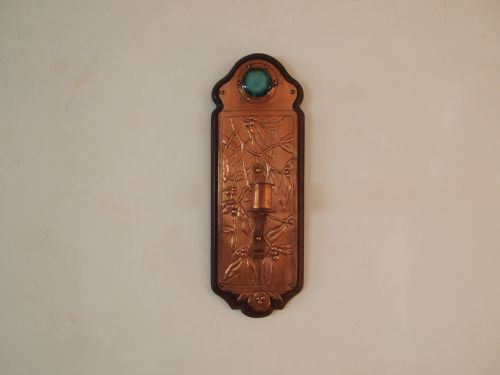 Arts and crafts ruskin copper and cabachon enamel wall for Arts and crafts candle sconces