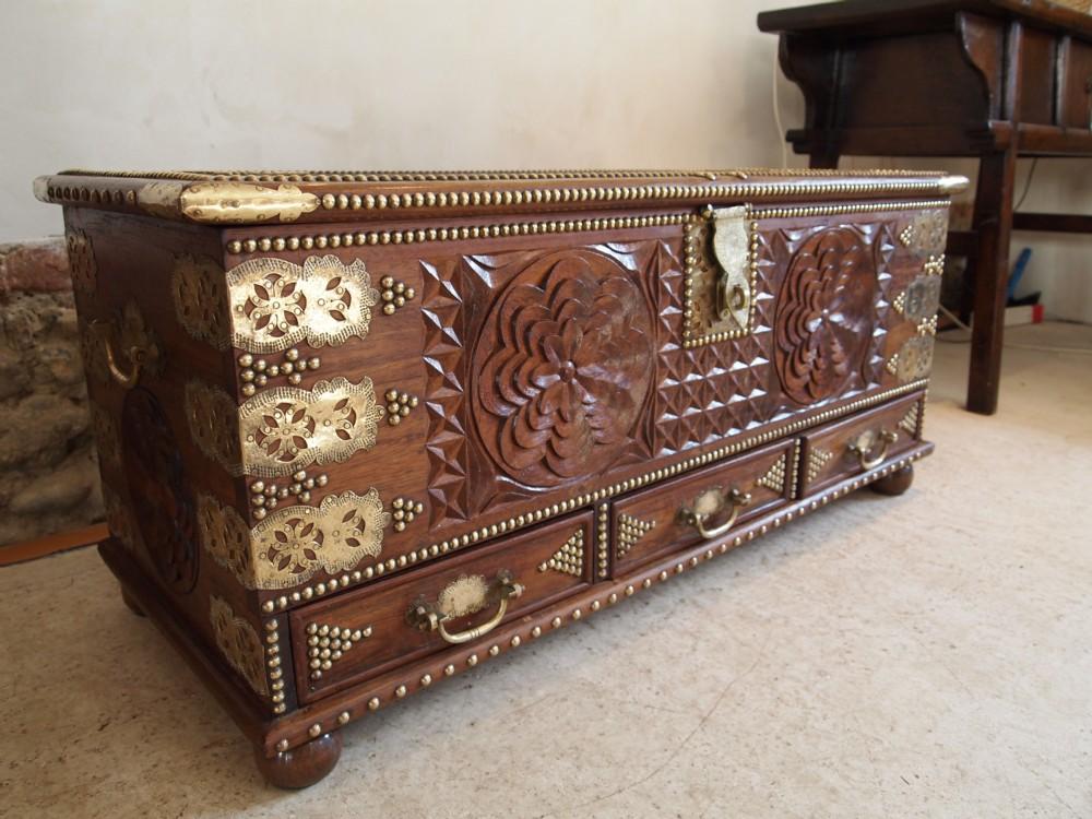 Antique Wooden Chests ~ Coffer chest zanzibar camphor wood c