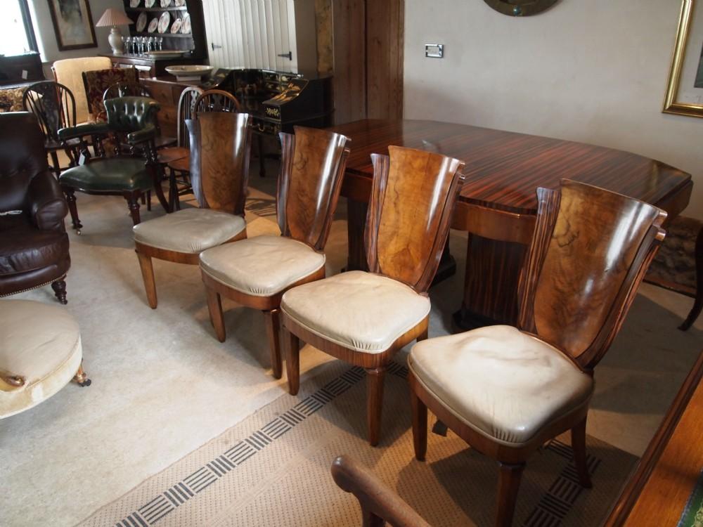 Chairs Art Deco Figured Walnut And Coromandel Leather Dining