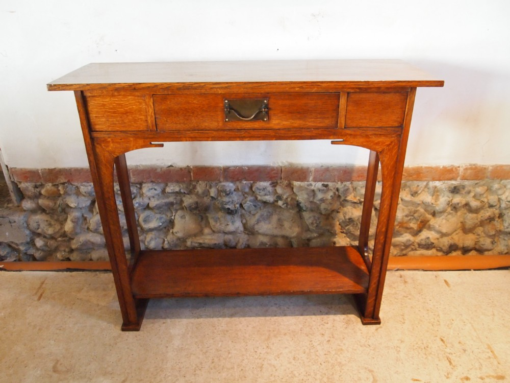 Table rare arts and crafts hall console table oak c1900 for Arts and crafts sofa table