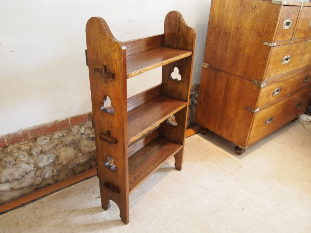 Bookcase arts and crafts liberty and co oak open bookcase for Arts and crafts bookshelf
