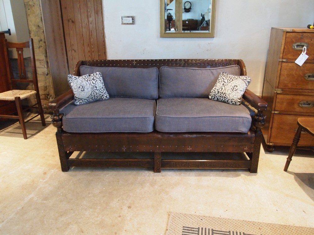 sofa settee leather and carved beech arts and crafts c1900. Black Bedroom Furniture Sets. Home Design Ideas