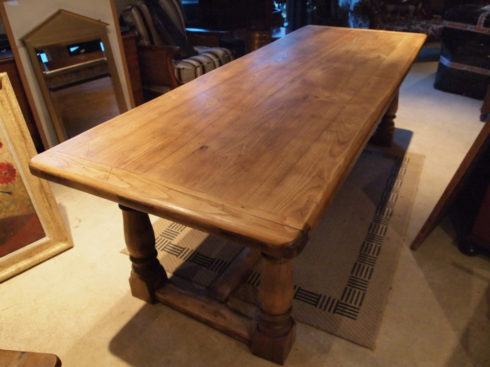 Table Solid Elm Farmhouse Refectory Dining Table Seats 8 10 C1920