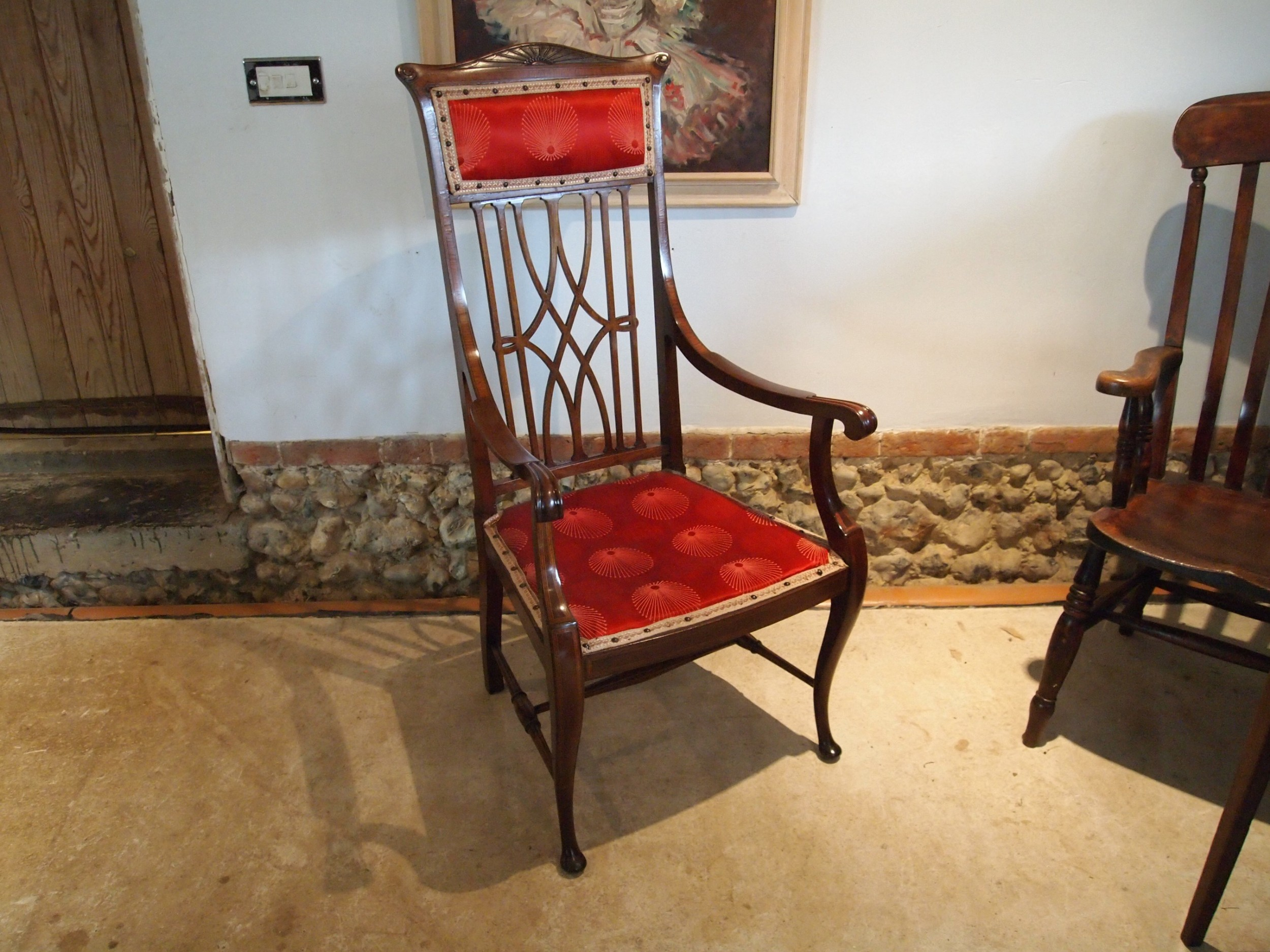 chair stunning arts and crafts mahogany armchair c1900