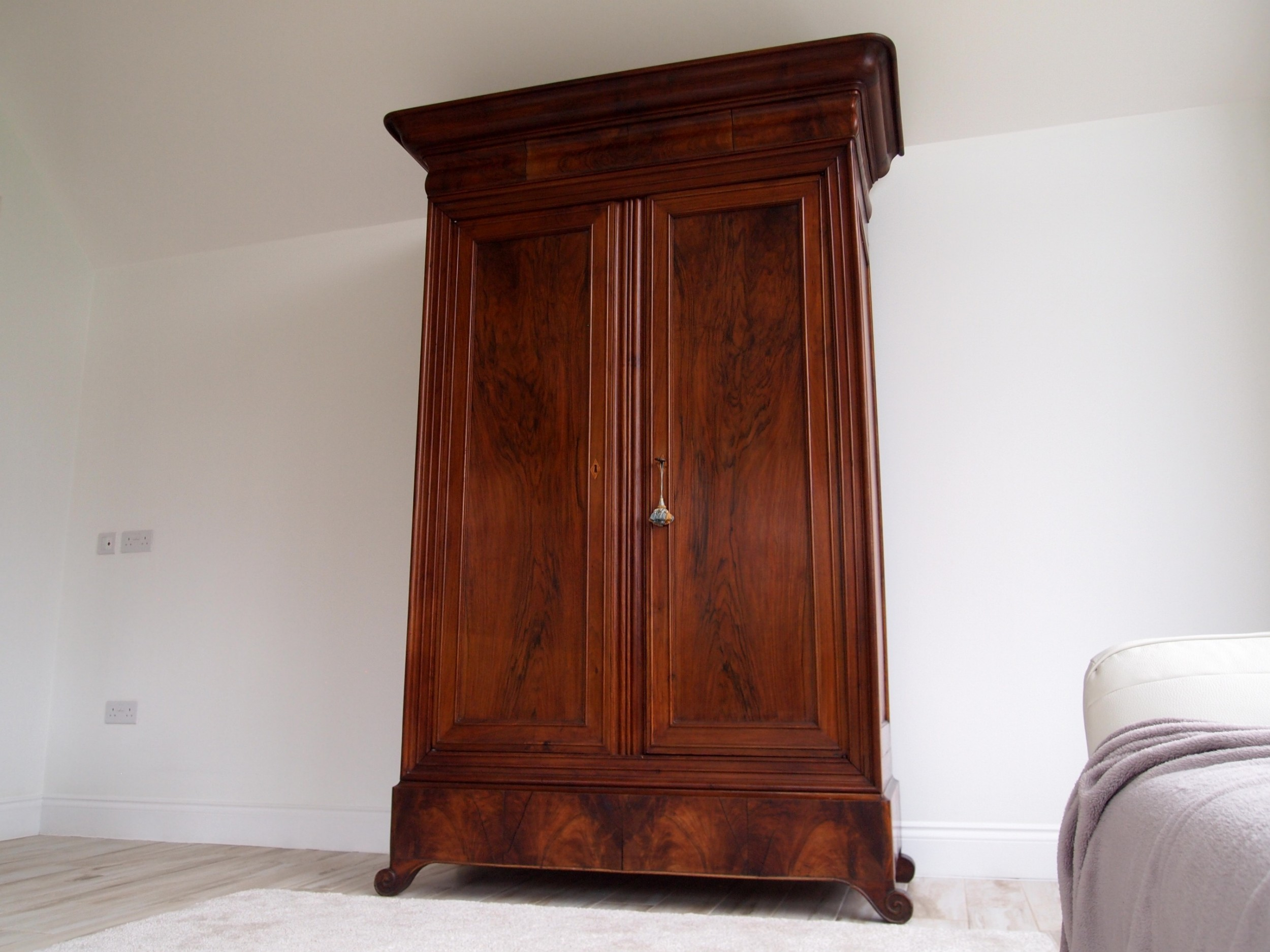 cupboard armoire french walnut and cherry 6 parts c1830