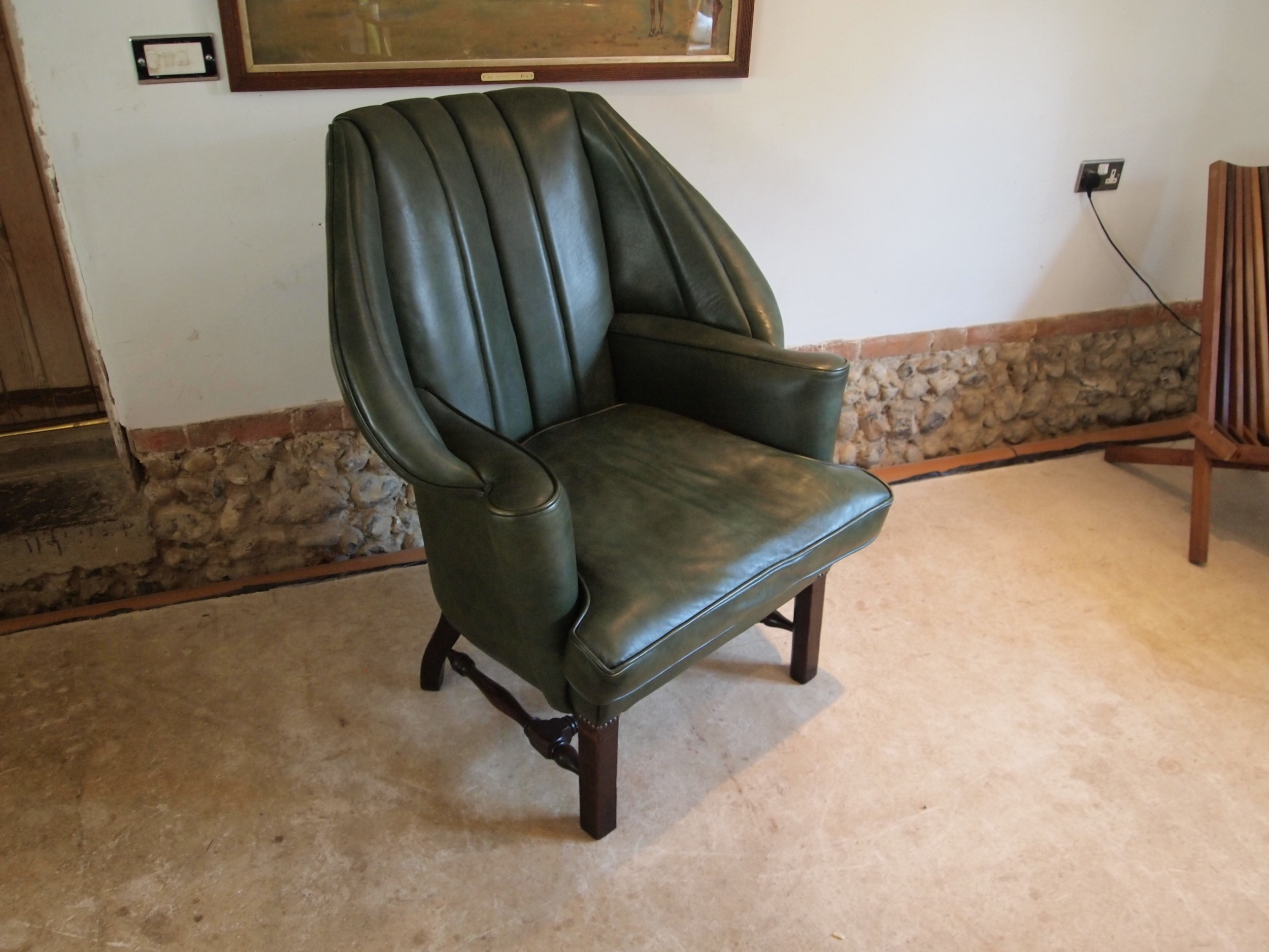 armchair stunning edwardian leather mahogany c1900