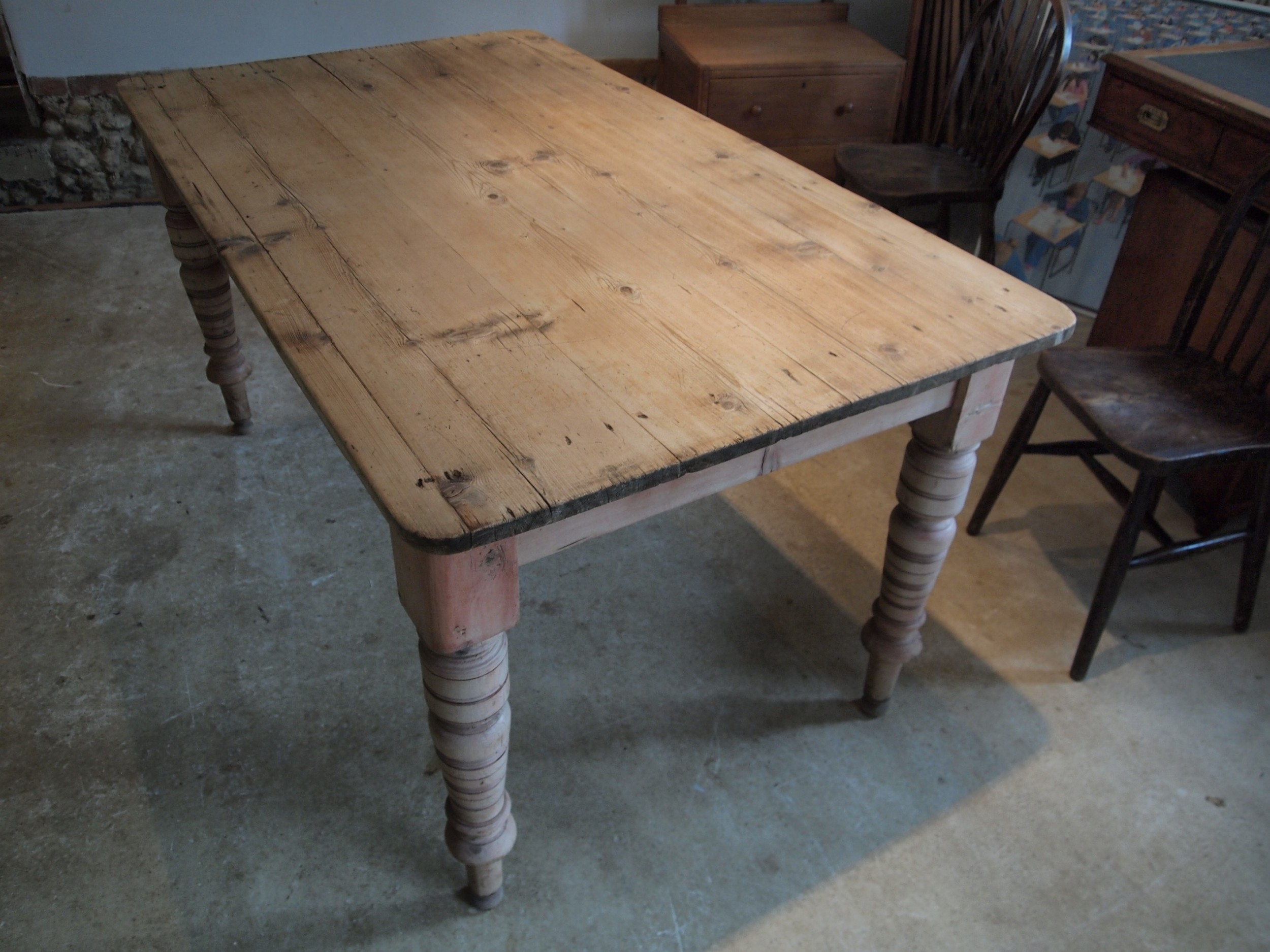 Table Victorian Pine Scrub Top Dining Farmhouse Refectory C9 ...