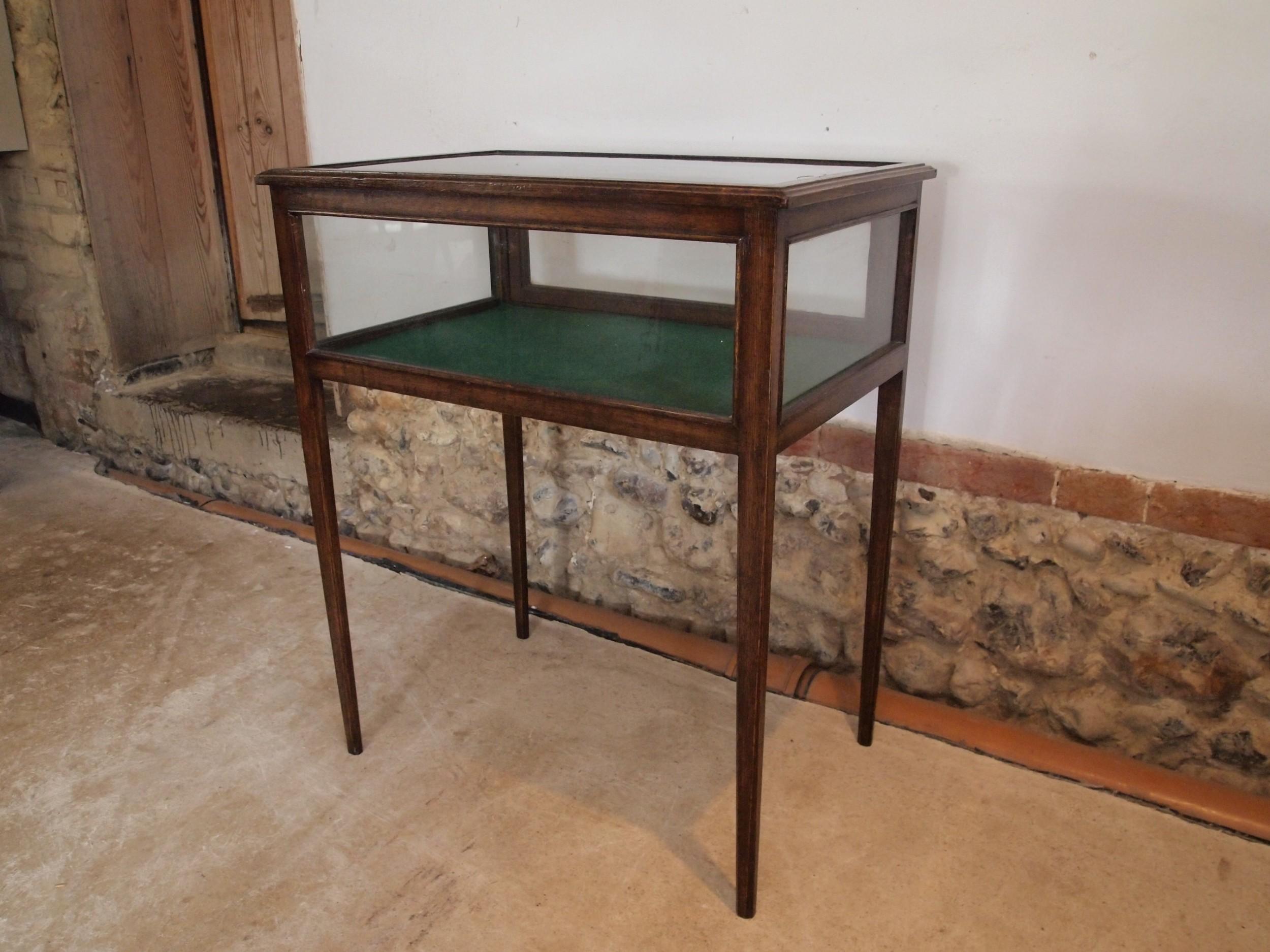 table display bijouterie cabinet edwardian oak c1900