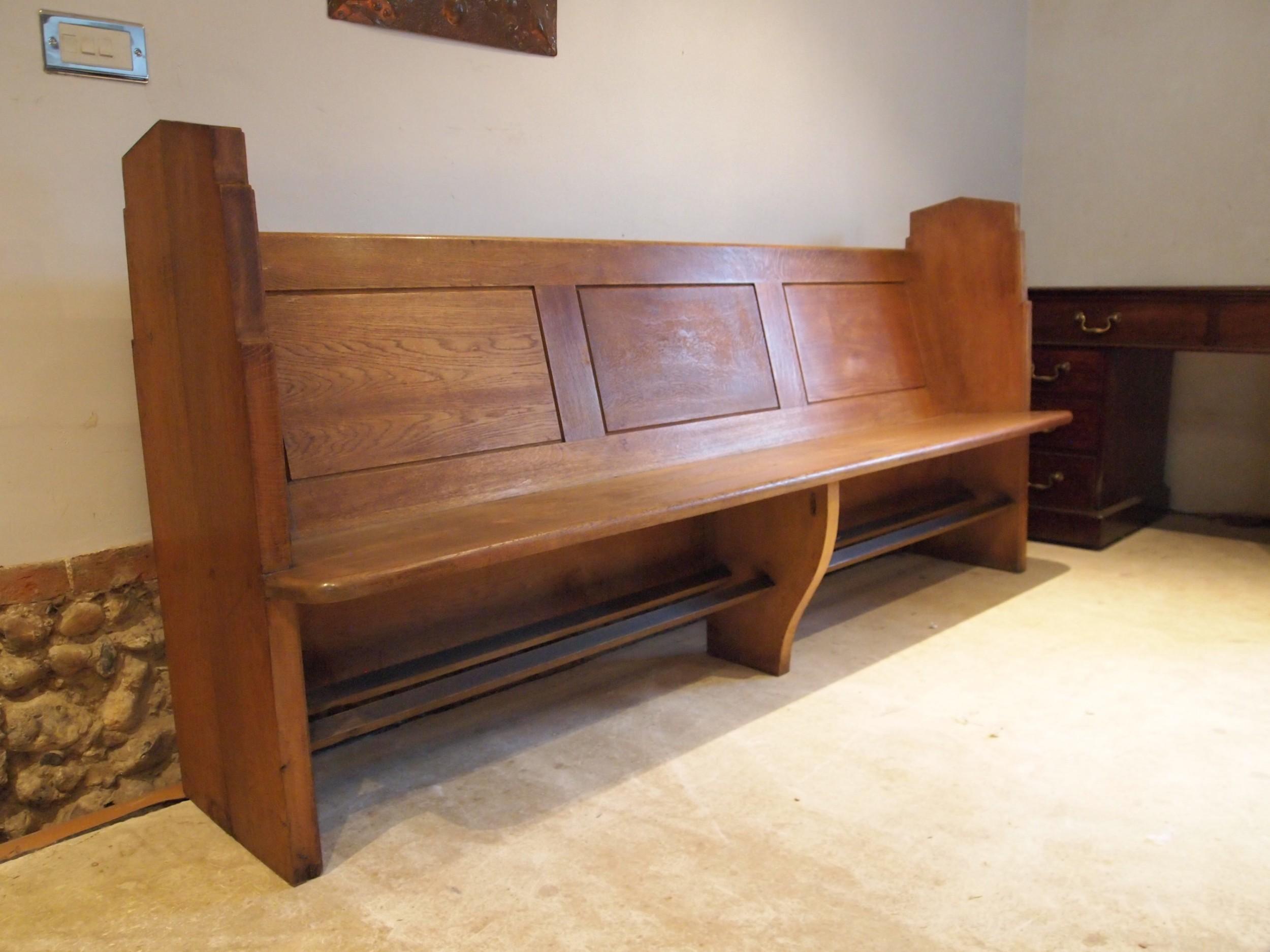 pew bench settle english oak edwardian c1900