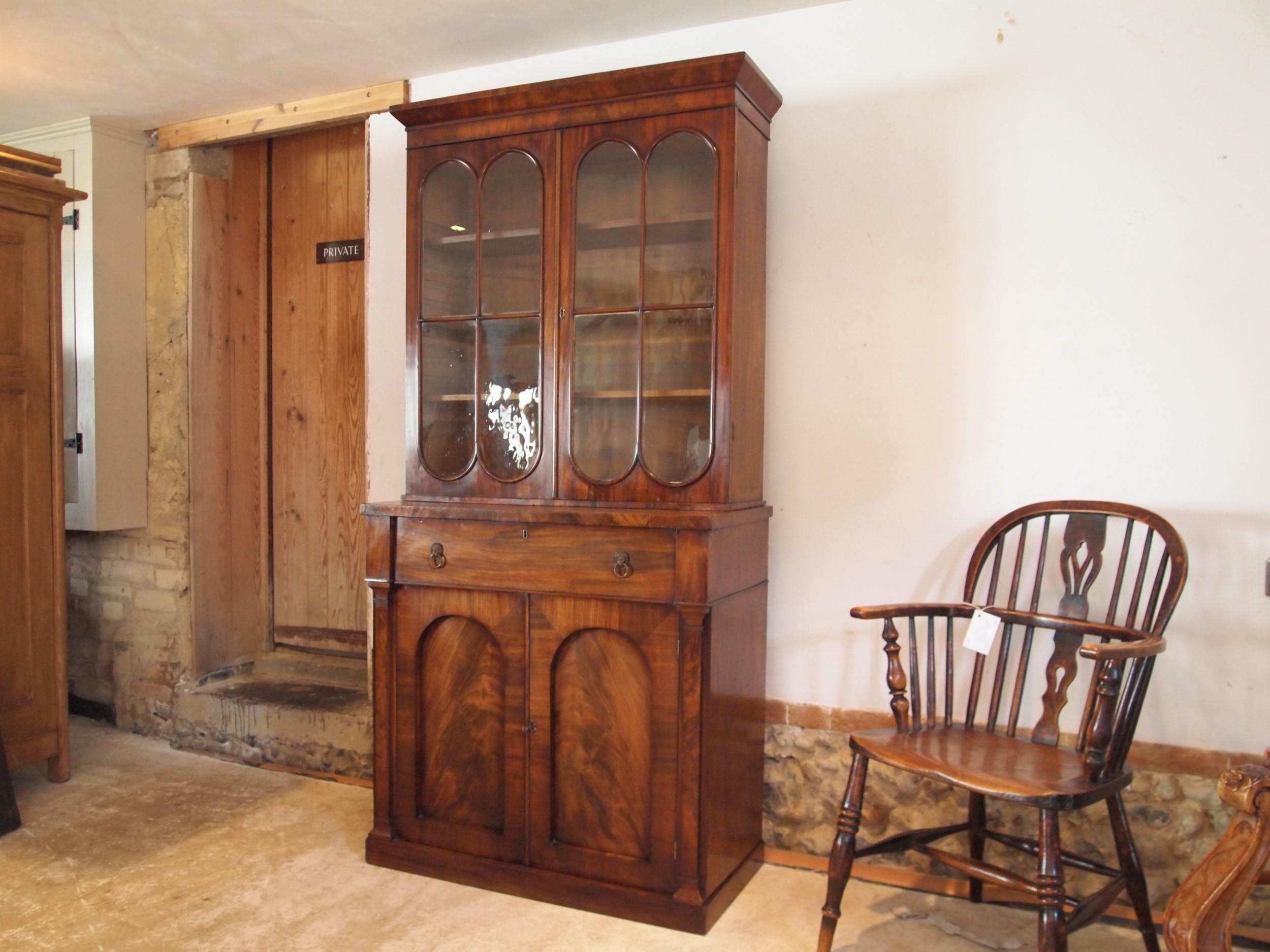 bookcase secretaire desk george iii mahogany small c1810