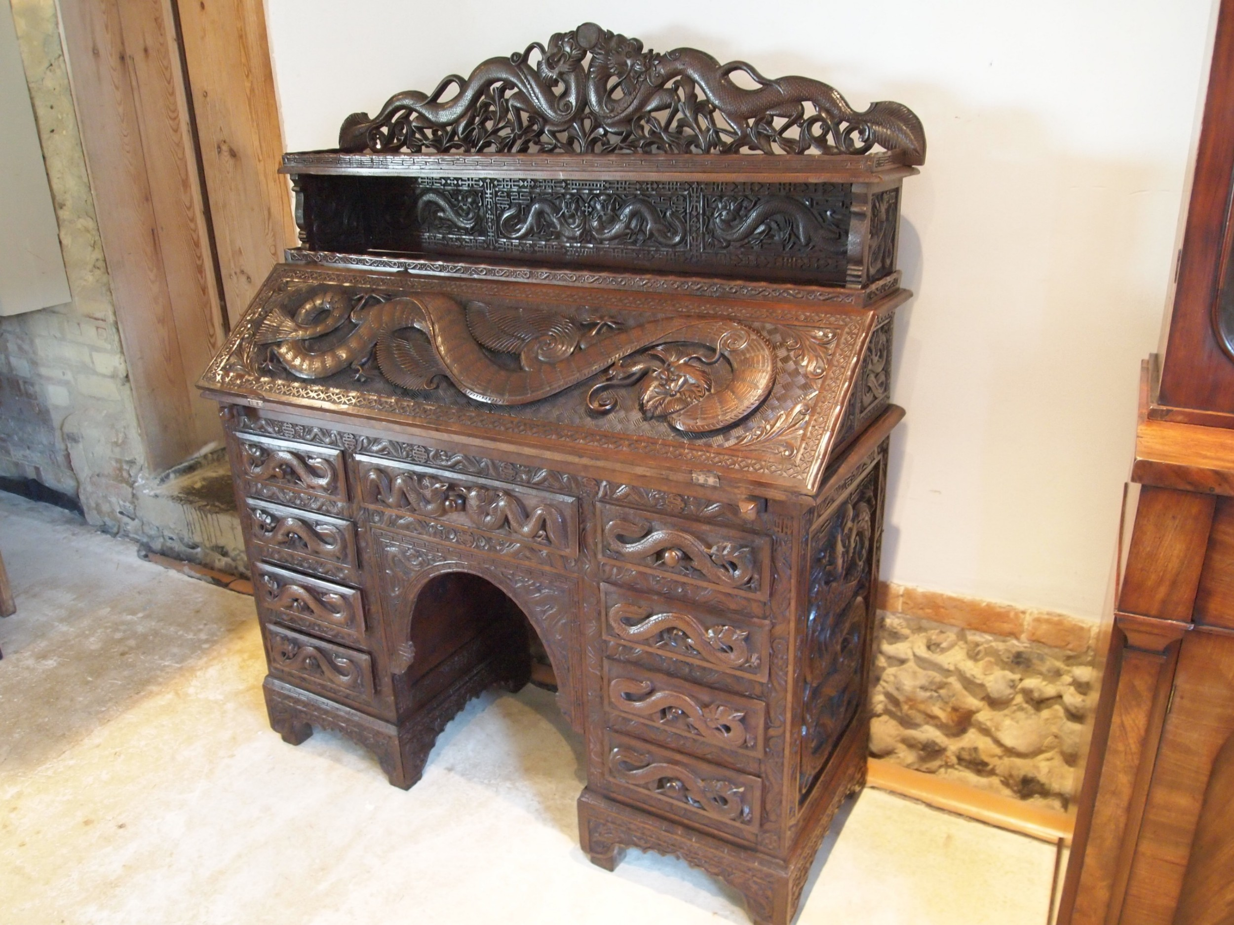 desk bureau stunning chinese carved 1900