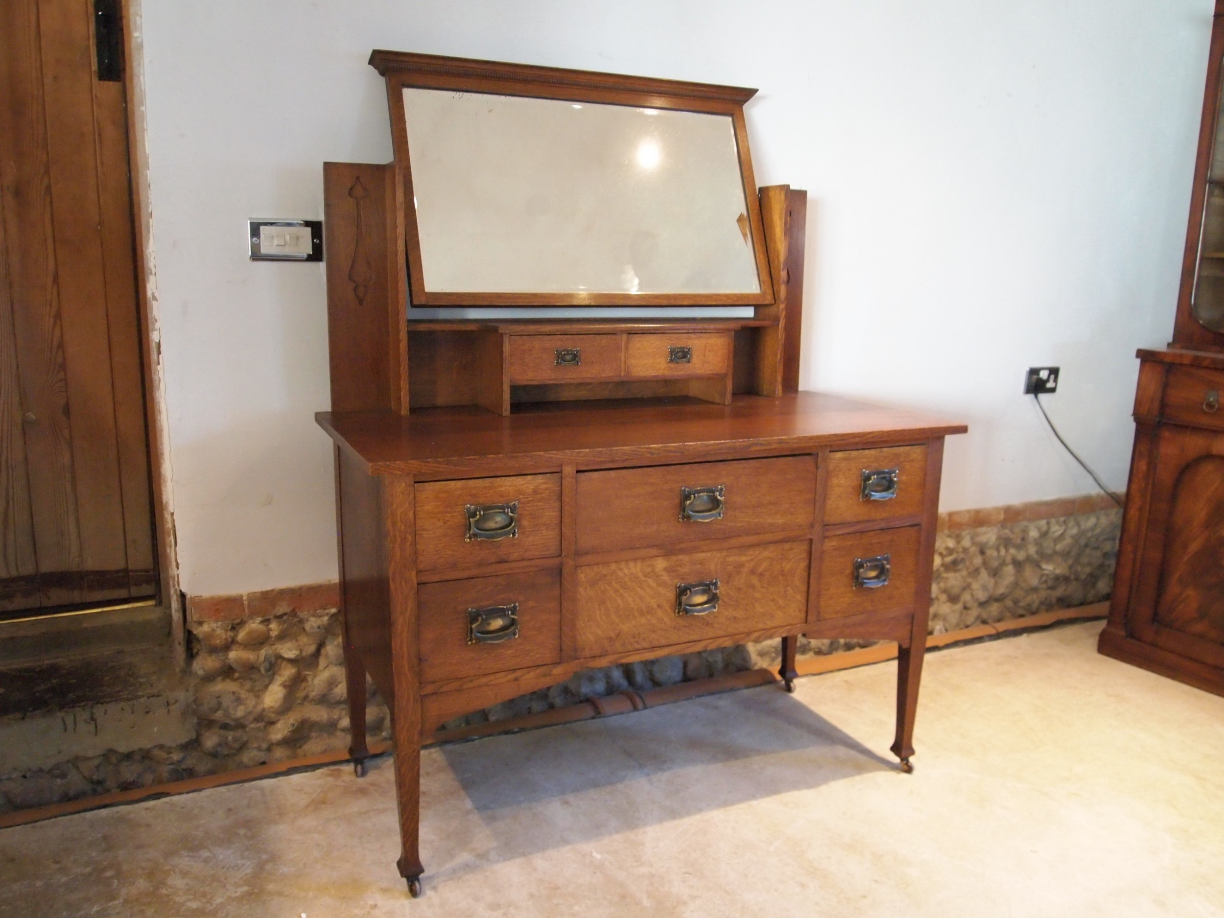 dressing chest of drawers arts crafts oak c1900