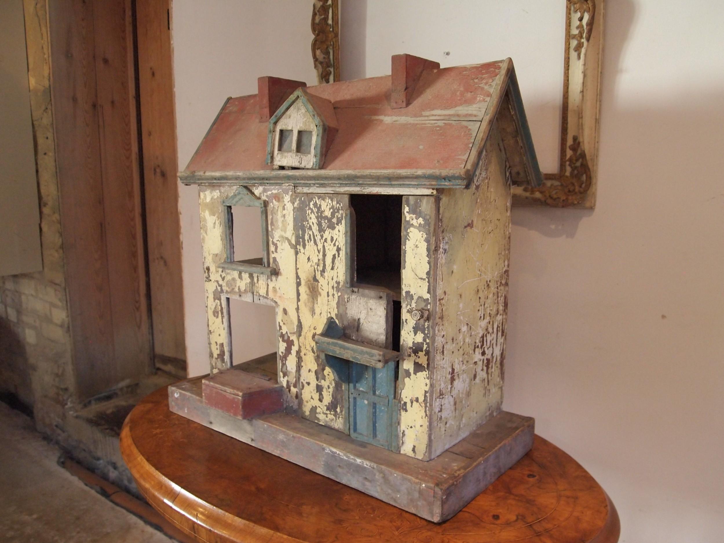 folk art victorian dolls house original paint c1880