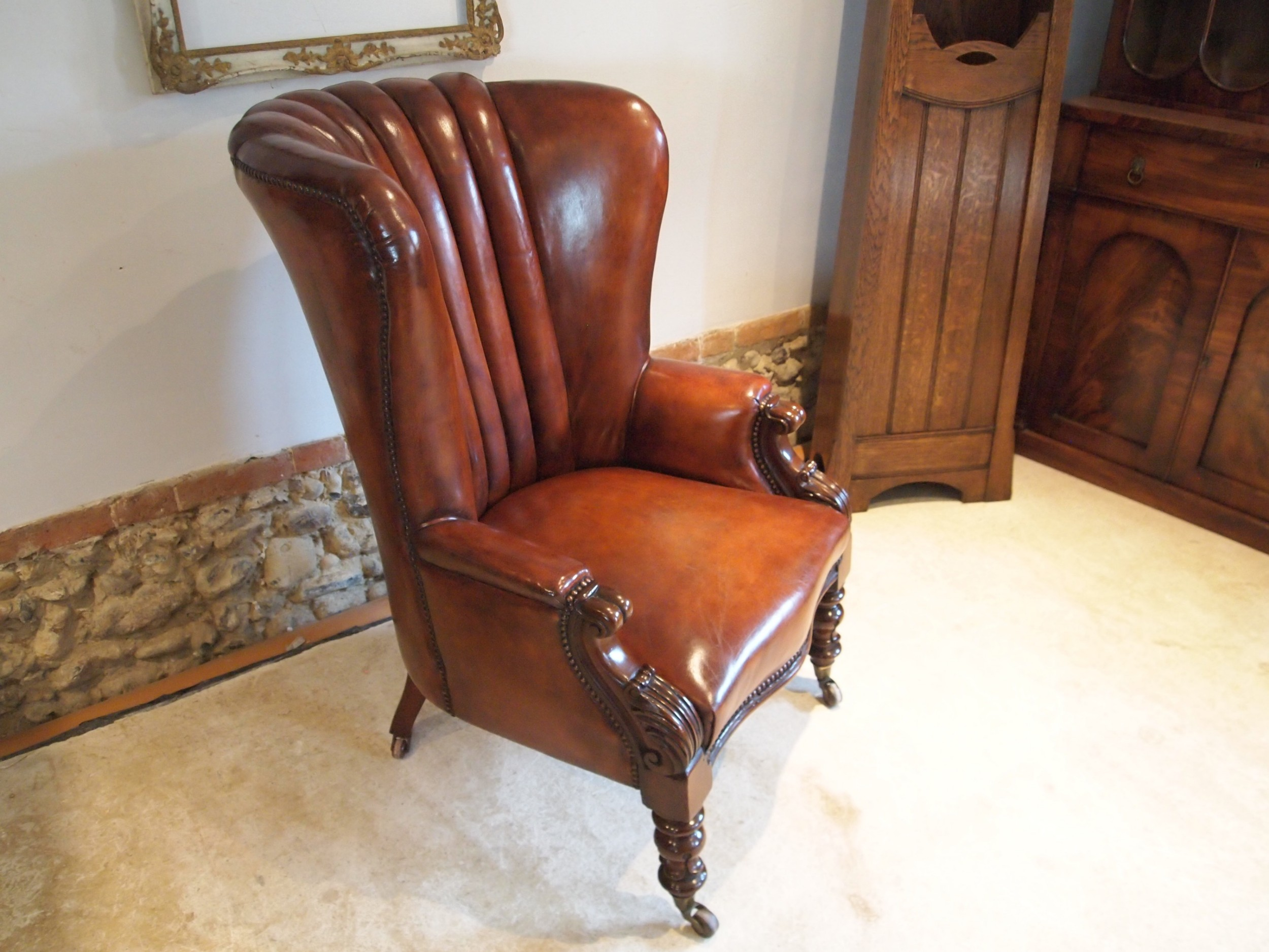 chair rare small ladies william iv barrel back chestnut leather c1830