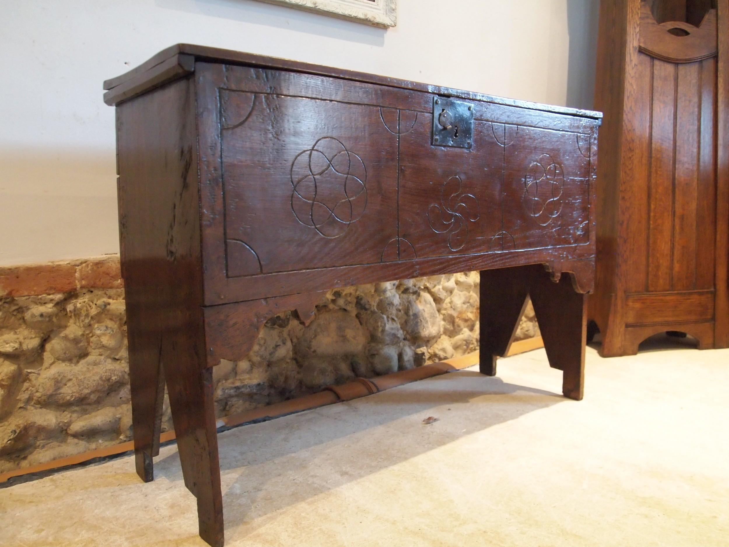coffer chest rare full height blanket box queen anne oak six plank c1700