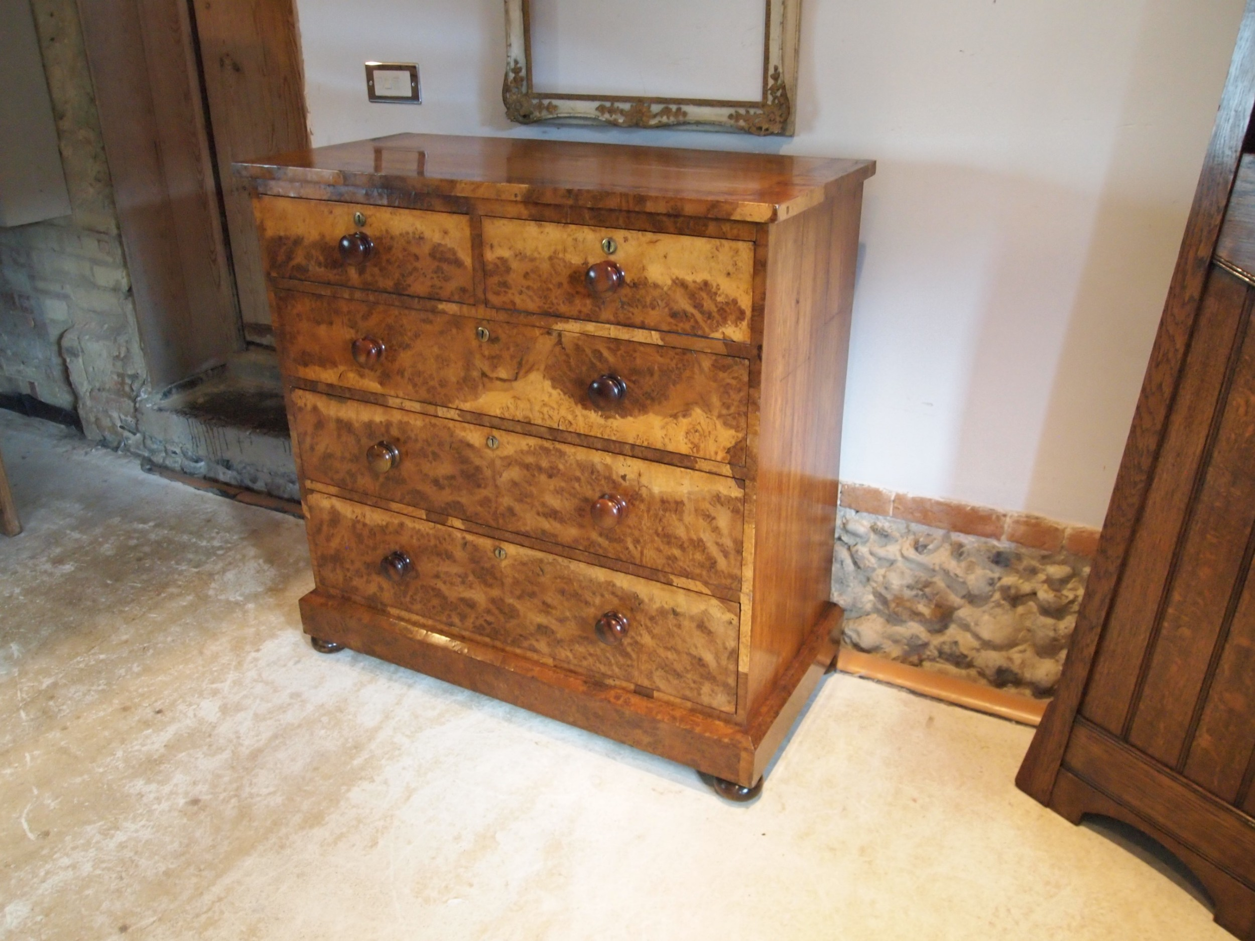chest of drawers outstanding very rare victorian burr oak c1850