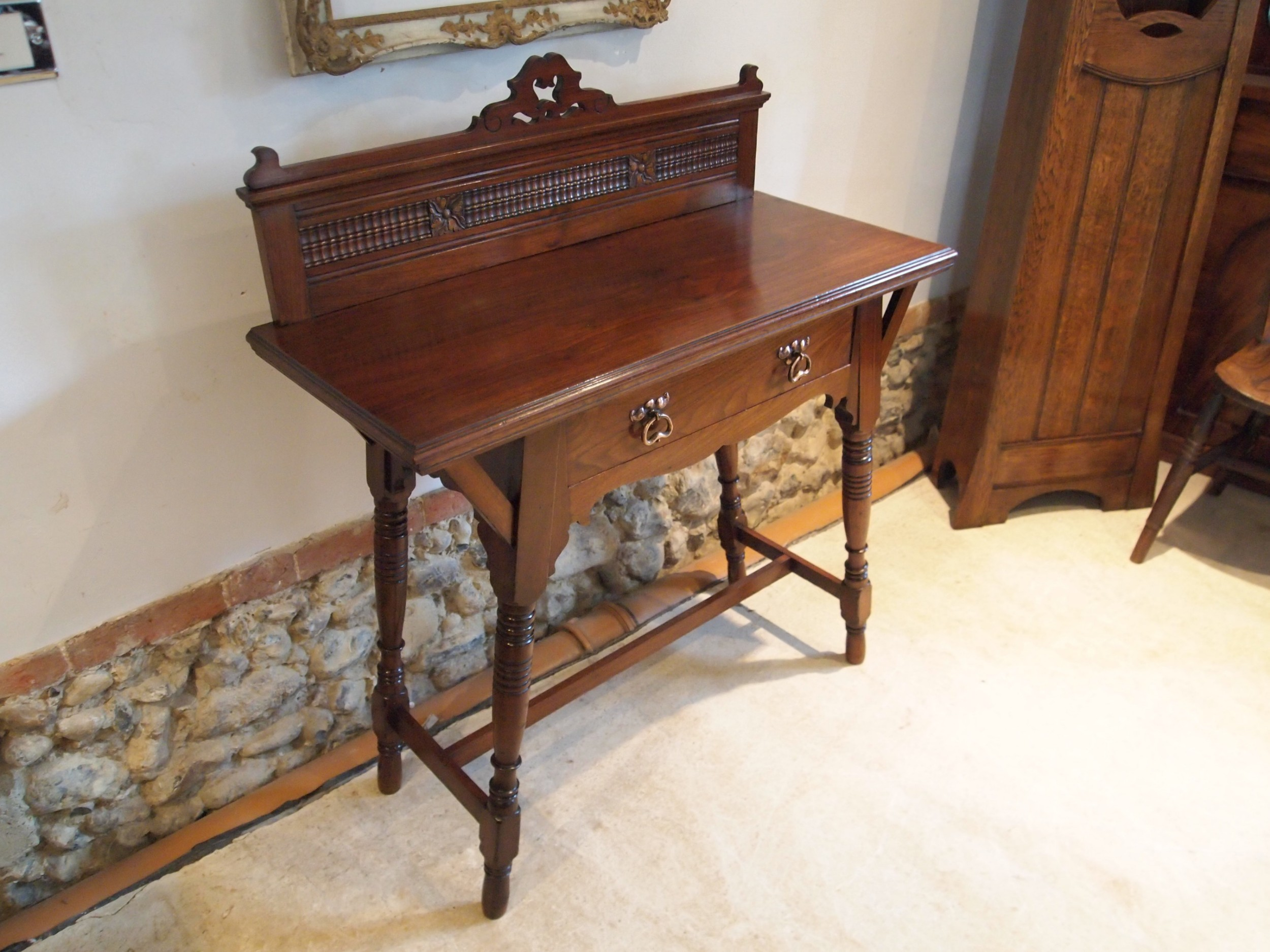 table stunning arts and crafts walnut hall lamp side console c1900