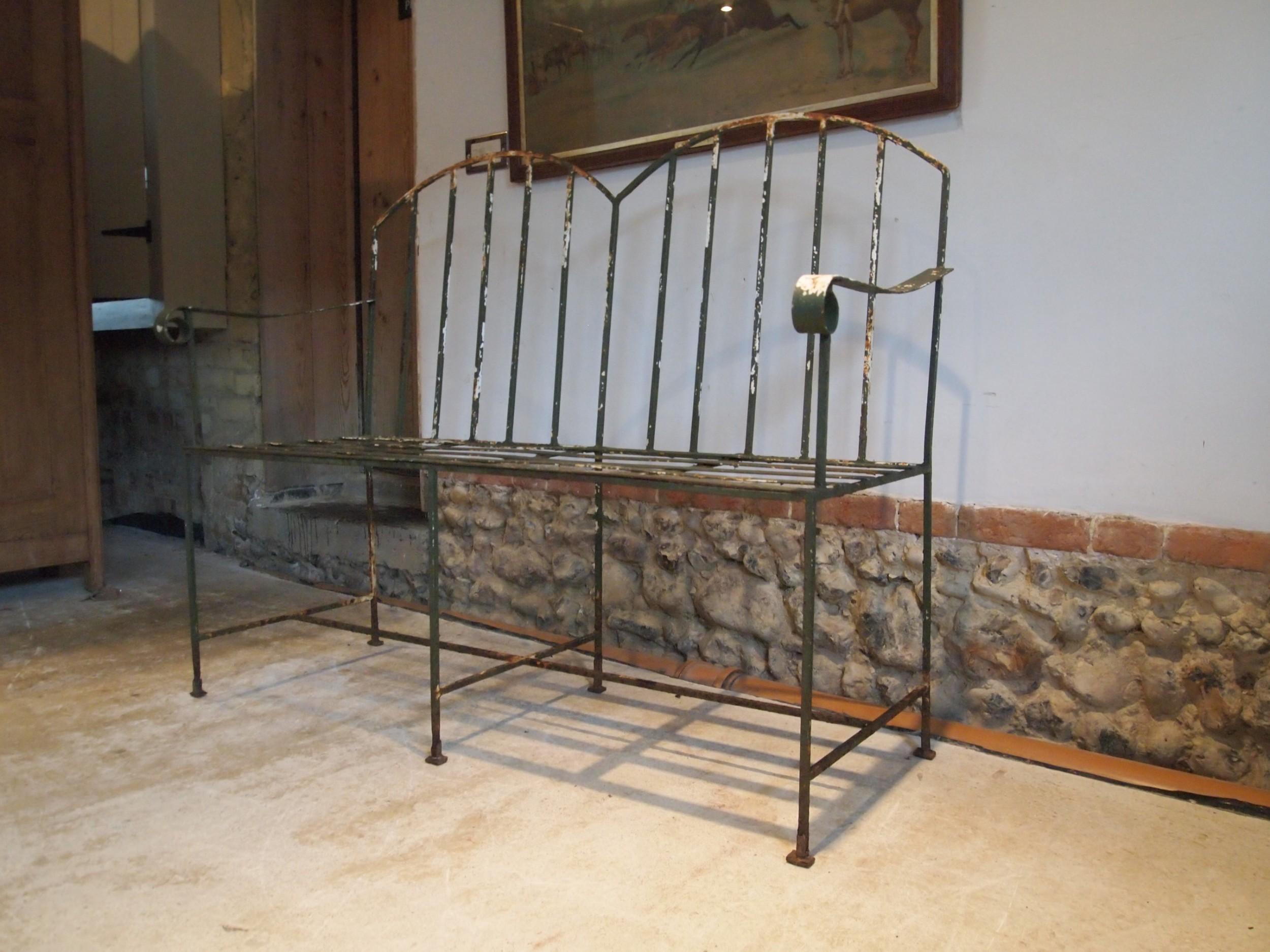 bench settle garden seat victorian strap work c1890