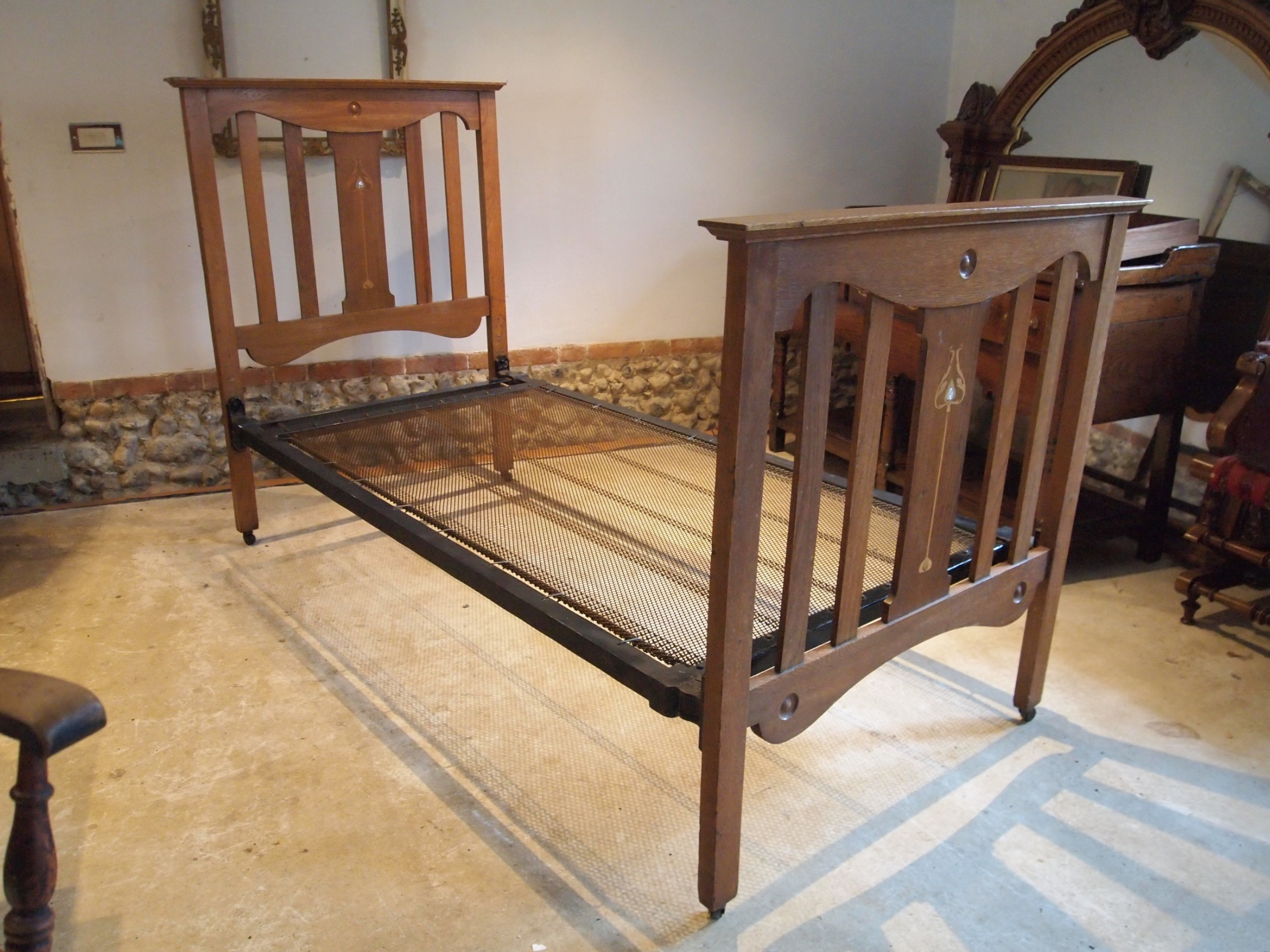 bed single stunning arts and crafts oak c1900