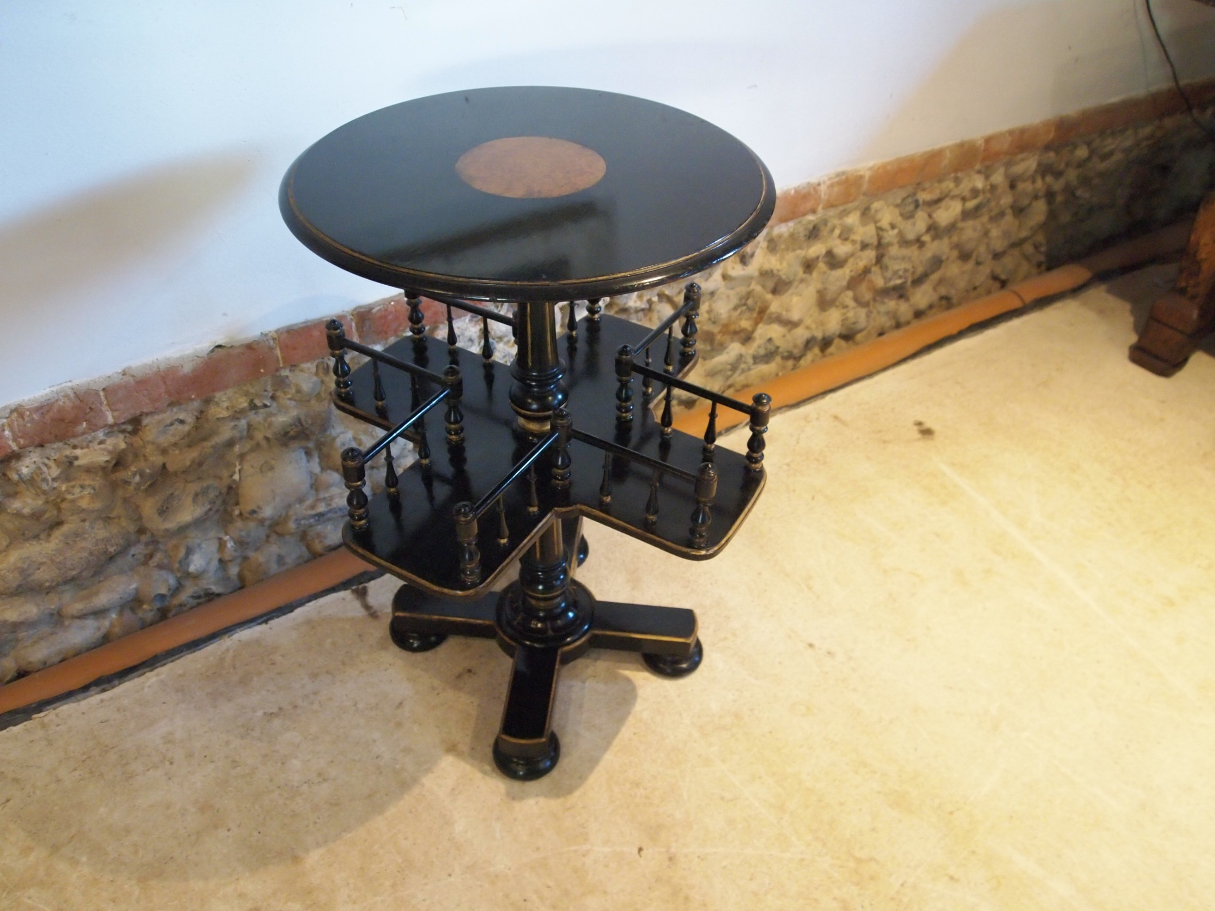 bookcase revolving book stand table ebonised mahogany c1860