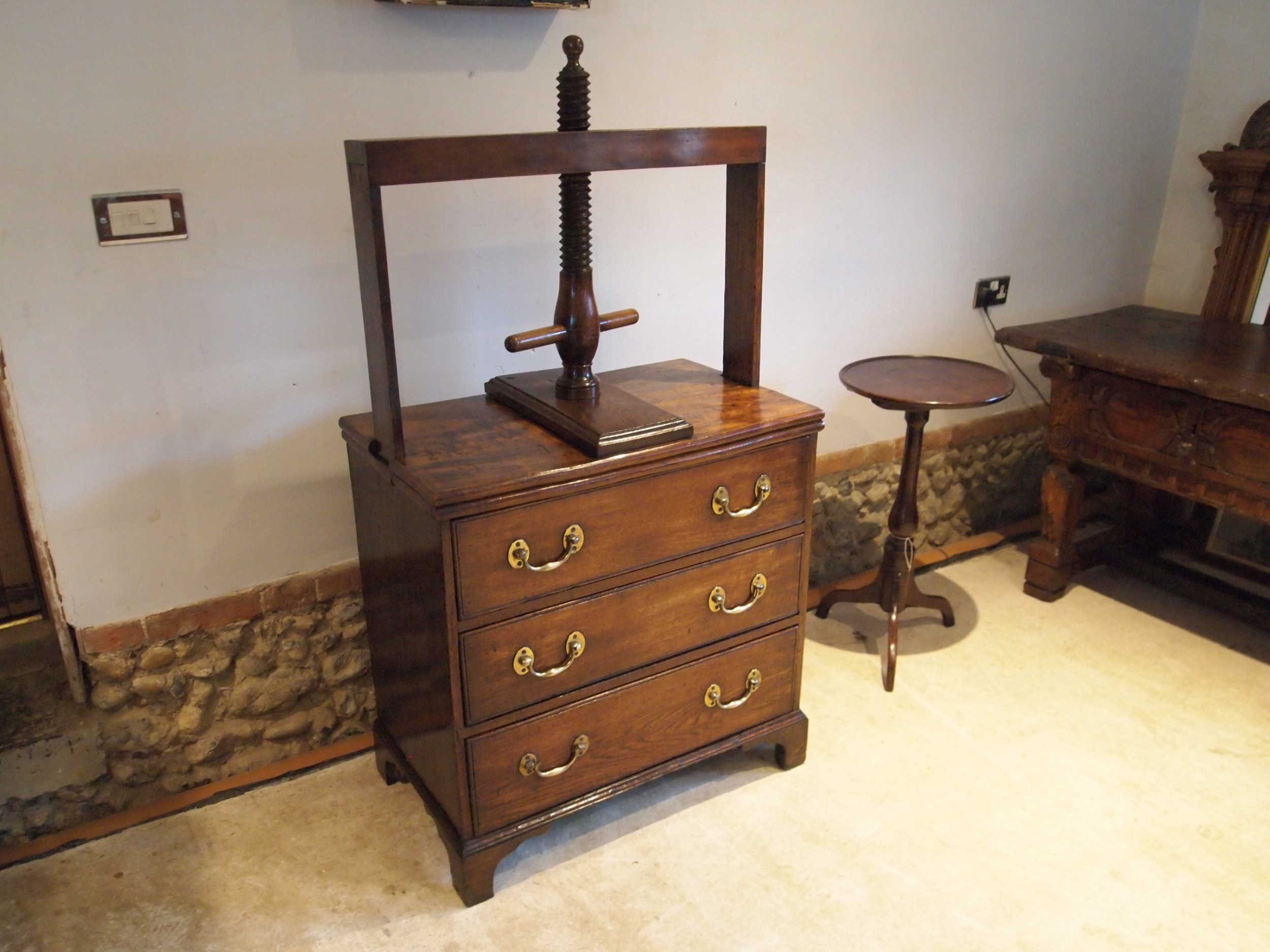 rare chest of drawers linen press elm george iii small c1780